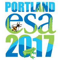 2017 Annual meeting image has a white background with the words Portland ESA 2017 in hues of blue and a flat lime green with a frog and bee on the backdrop of a mountain range with trees.