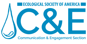 "ESA Communication & Engagement Logo, features a drop of water, along with the words: ""Ecological Society of America"", the letters C and E, and Communication and Engagement Section. Everything is in a medium-dark blue."