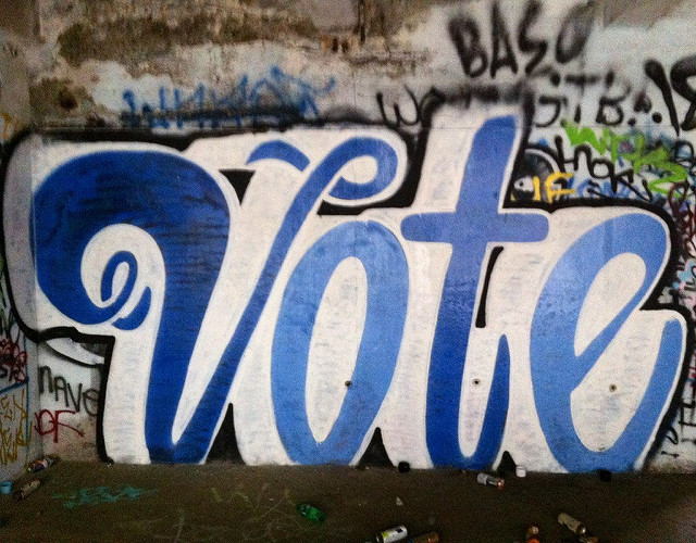 Graffiti painting of the word VOTE