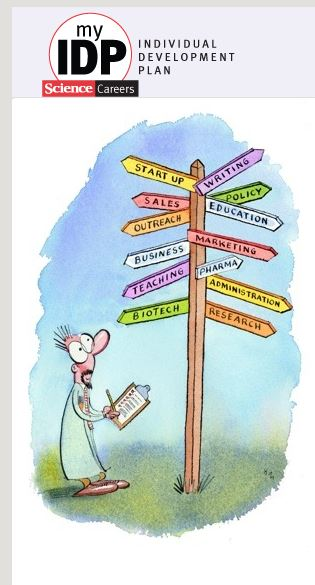 """Screenshot of a cartoon on the website homepage: man in lab coat, holding clipboard with checklist, looks up with surprised expression at a """"which way to go"""" road marker with thirteen different career option signs pointing in different directions. Options range from research and biotech to sales writing and startup."""