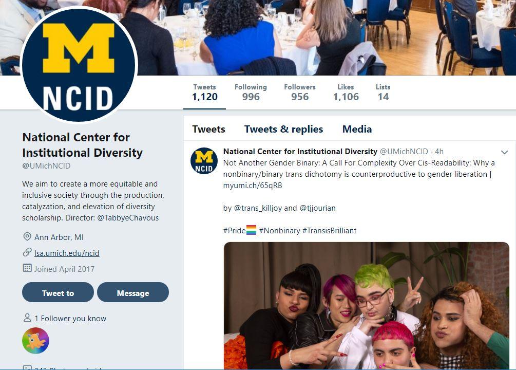 Screenshot of NCID Twitter account