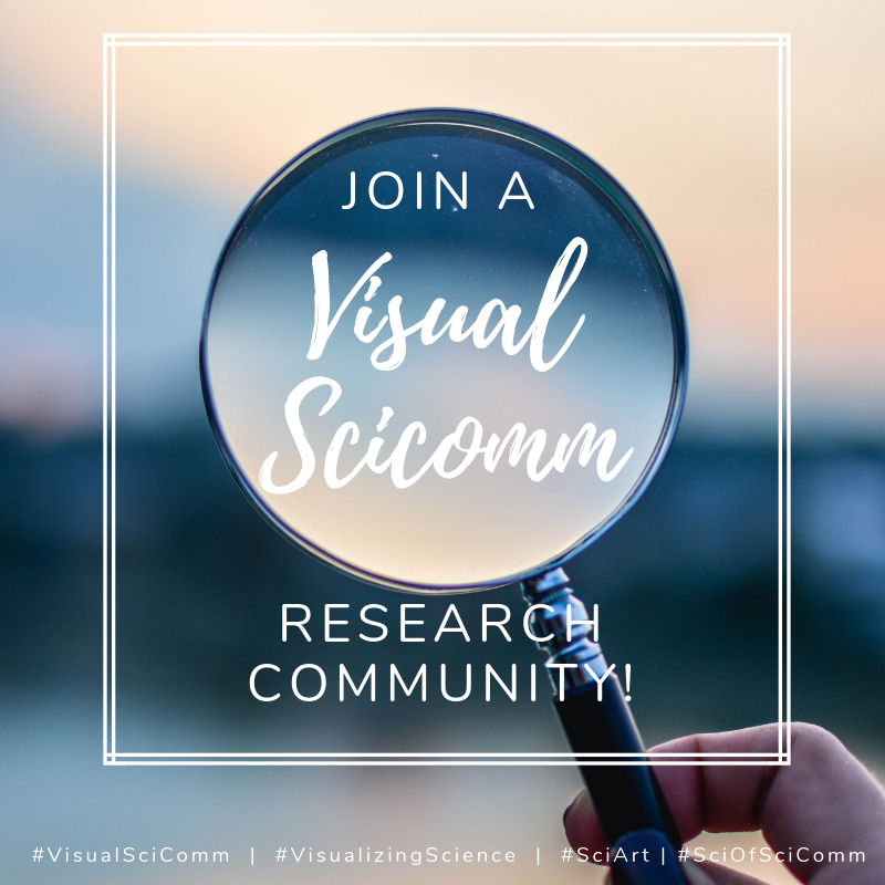 """Photo of hand holding magnifying lens, with text that reads: """"Join a Visual SciComm Research Community!"""" Hashtags beneath the main image read: #VisualSciComm 