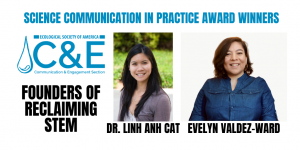 Screenshot of award notice - logo and award title, along with photos of two winners - women smiling at camera