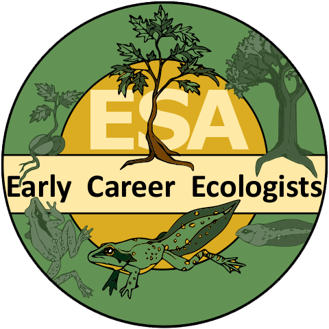 Official logo of the early career ecologists has a circle shape with a green outer band and a yellow-orange inner band. A frog, eel and trees are featured.