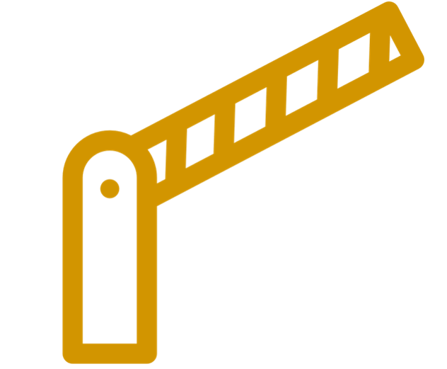A yellow cross bar used to represent a barrier.