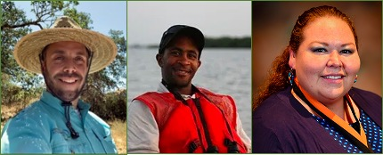 Three separate portrait images of ecologists in their respective fields.