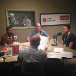 Madhu Katti (left), Jared Shaw (center), and Simon Brandl (right) in the interview booth on Wednesday morning. Credit, Capital Public Radio.