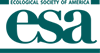Image of the Ecological Society of America logo with the letters E S and A in a teal color.