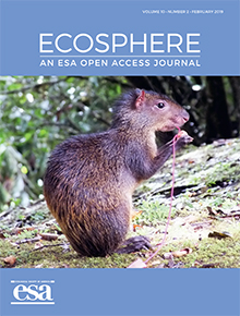 The cover for Ecosphere, an ESA open access journal.
