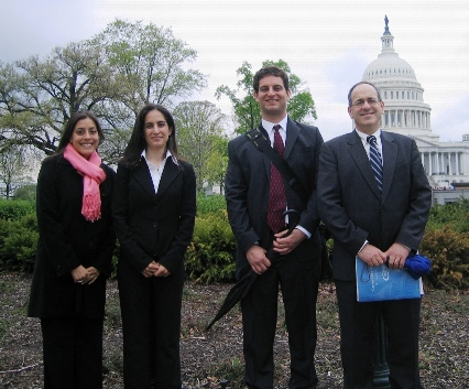 ESA member Anna Stewart, ESA Policy Award winners Jennifer Moslemi and Ari Novy, and ESA member Peter Groffman on their Capitol Hill visits.
