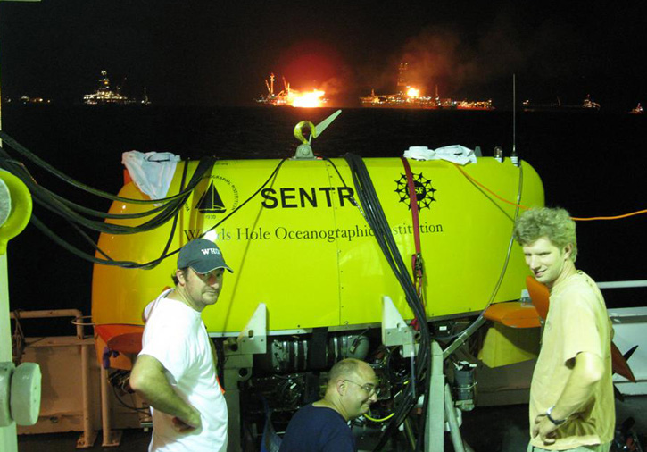 Sentry being prepared for a mission to map the underwater oil plume near the Deepwater Horizon well head. (Courtesy of Rich Camilli, Woods Hole Oceanographic Institution )