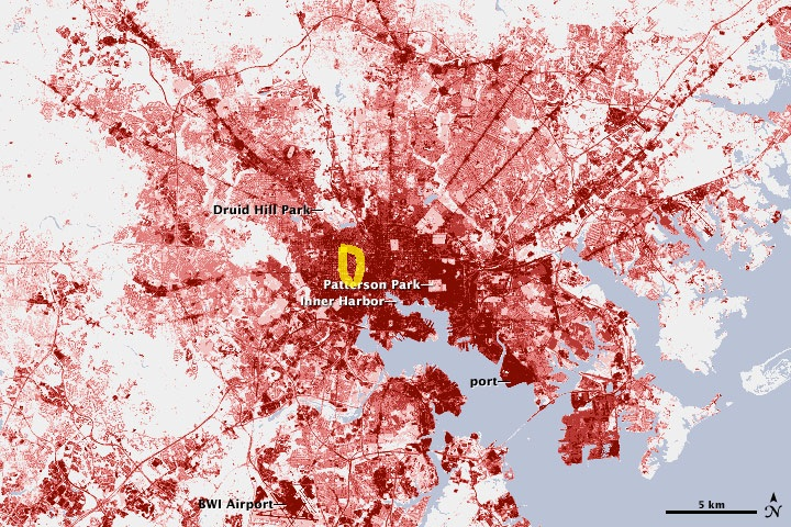 baltimore urban density. landsat image with aproximate location of ws263