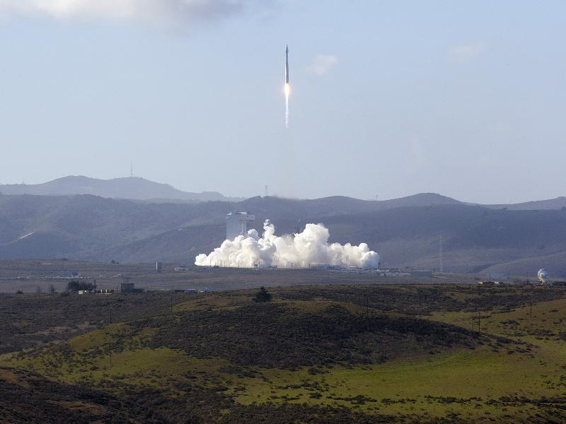 The United Launch Alliance Atlas V rocket with the LDCM spacecraft onboard lifts off the launch pad at Vandenberg Air Force Base in California. Image credit: NASA/ Kim Shiflett Feb. 11, 2012.