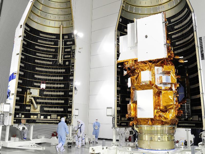Fairing Encloses LDCM Spacecraft.  NASA/VAFB Jan. 23, 2013.