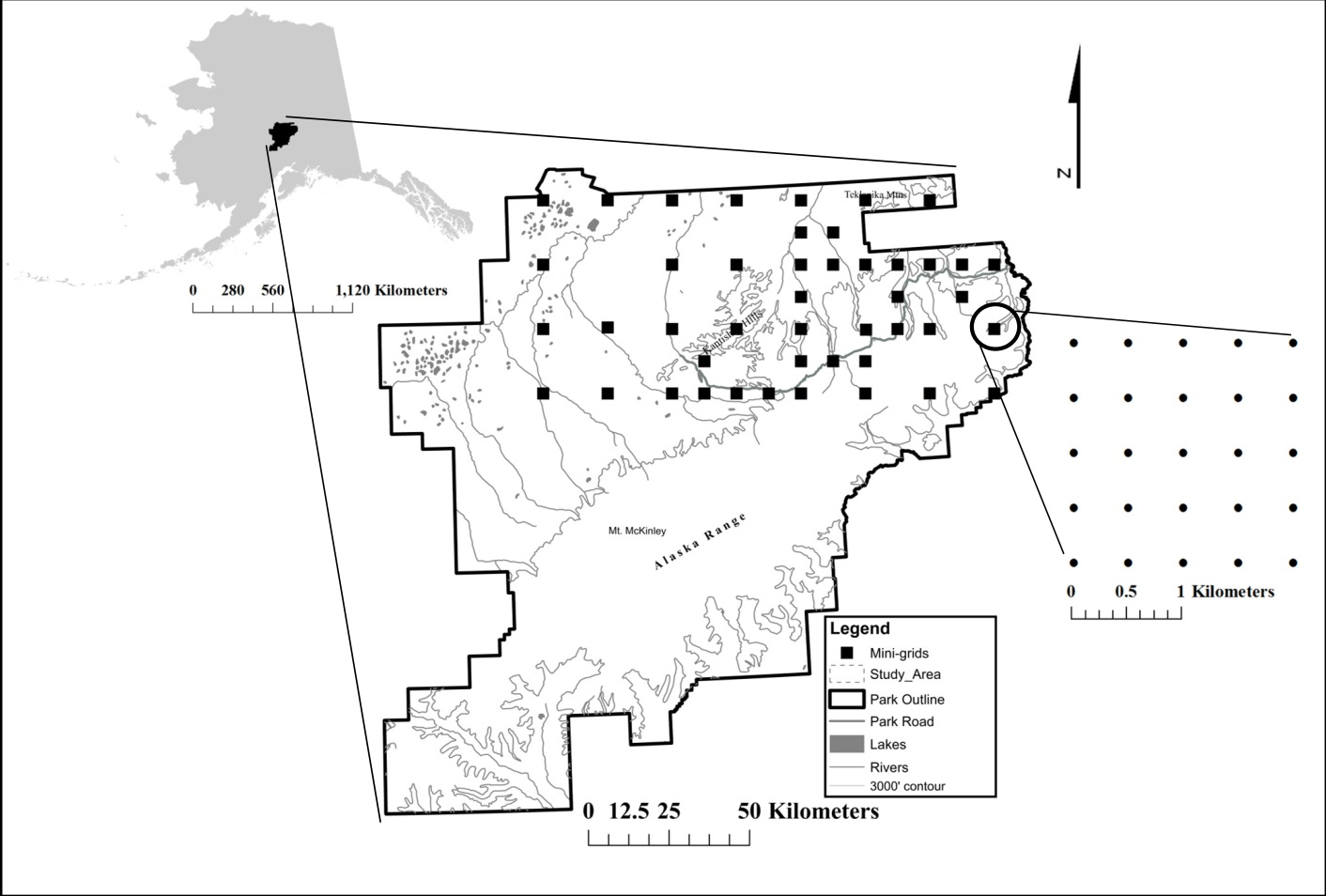 Sampling sites spread in a grid of 20km intervals over 12,800 km2 of the north end of Denali National Park. From Fig. 1 of Roland et al.