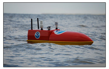 NOAA pilots 65-inch water-tight craft EMILY into hurricanes through a satellite link. Credit: Hydronalix, Inc.