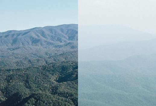 A photo from a National Park Service air quality monitoring system showcases the affect of air pollution on scenic views within the national park system. The left side photo was taken on a day with good visibility. The right side photo was taken on a day when visibility was reduced due to air pollution. Credit/NPS