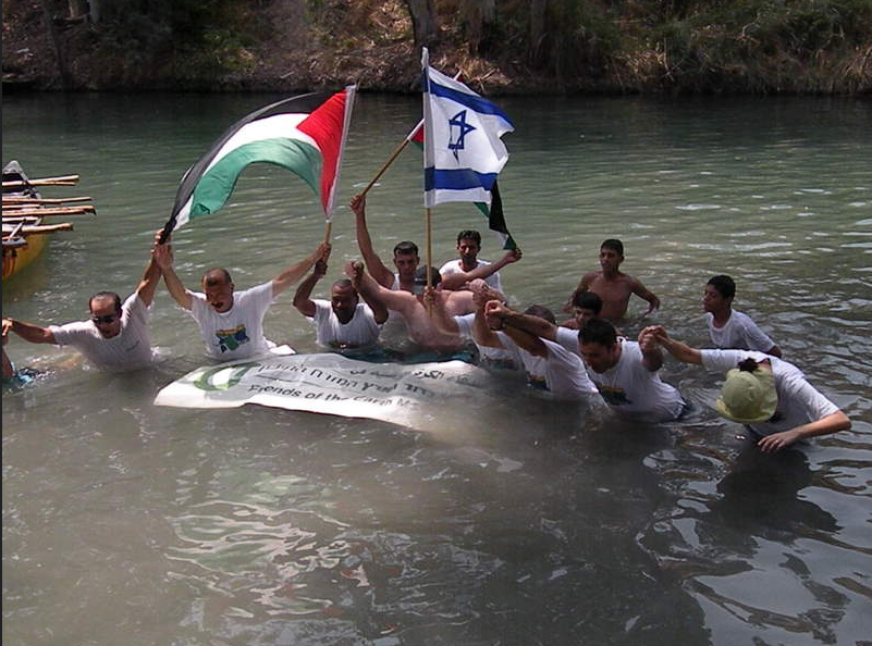 "People from the three Abrahamic traditions come together with hydrologists to restore the Jordan River. <i>Credit, <a href=""http://www.foeme.org/"">EcoPeace Middle East>/a> (formerly Friends of the Earth Middle East)</i>."