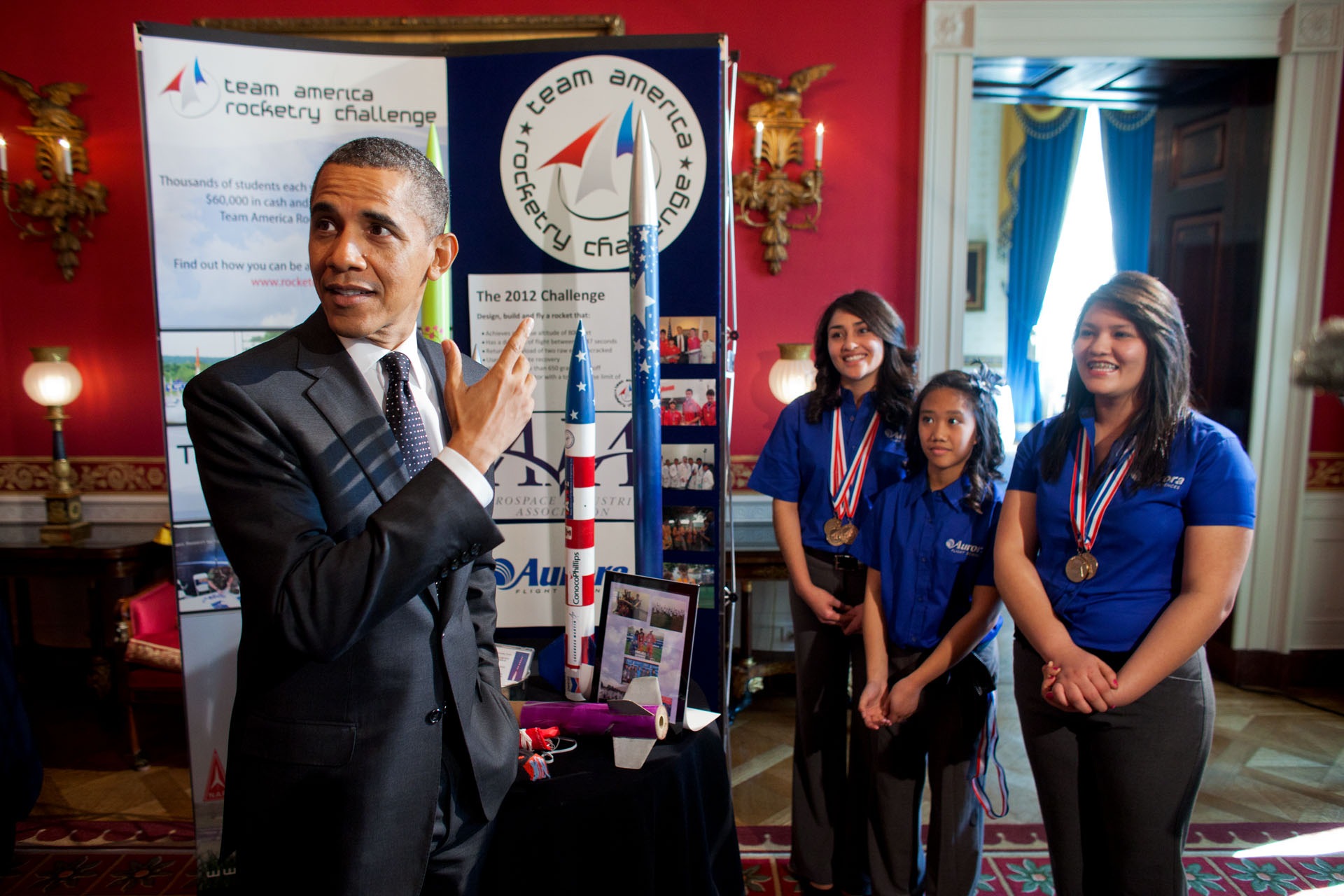 President Barack Obama hosts the second White House Science Fair celebrating the student winners of a broad range of science, technology, engineering and math (STEM) competitions from across the country. The President views exhibits of student work, ranging from breakthrough research to new inventions, in the Red Room of the White House, Feb. 7, 2012. (Official White House Photo by Lawrence Jackson) Young Women Rocketing to Nationals.  Janet Nieto and Ana Karen of Presidio, Texas were members of the Presidio High School Rocketry Team that competed as a National Finalist in the Team America Rocketry Challenge (TARC) in 2009, 2010, and 2011.  Gwynelle Condino, a 7th grade student at Lucy Franco Middle School, also of Presidio, Texas, is the leader of her TARC team this year.  All three girls have successfully competed in a number of rocketry challenges and have attended the NASA Student Launch Initiative Advanced Rocketry program.