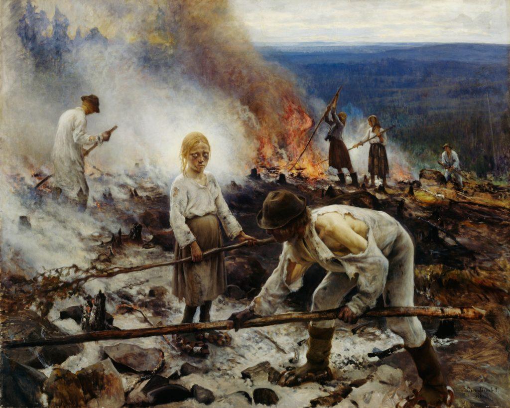 Under the Yoke (Burning the Brushwood), 1893 (oil on canvas) by Jarnefelt, Eero Nikolai (1863-1937); 131x164 cm; Ateneum Art Museum, Finnish National Gallery, Helsinki, Finland.