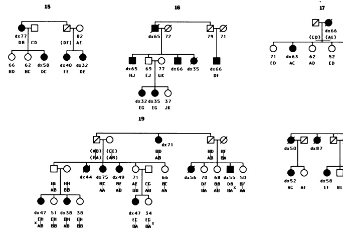 breast cancer families - from Hall et al (1990) Linkage of early onset familial breast cancer to chromosome 17q21. Science 250, 1684.
