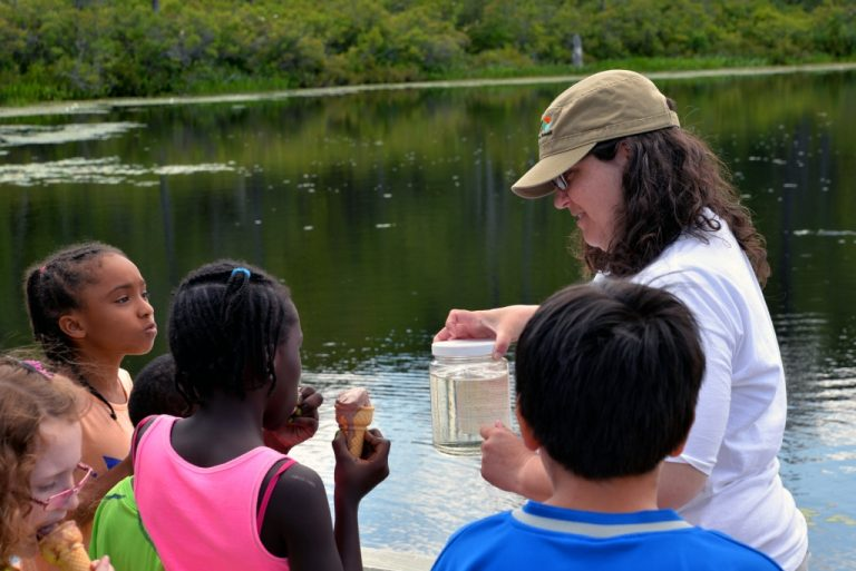 Children learn what zooplankton are, how to collect them, and the role zooplankton play in lake food webs from Leslie Knoll, director of research and education at Lacawac Sanctuary in July 2014. Credit, Jacob Setser Photography.