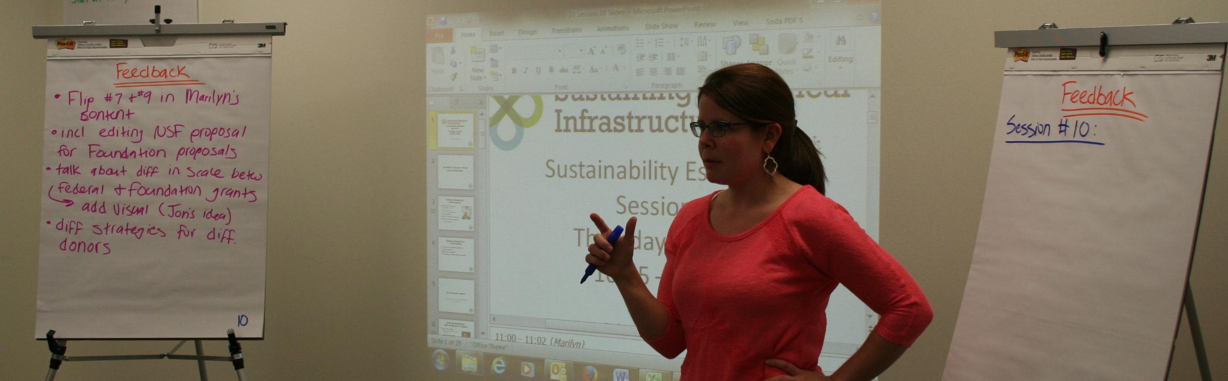 Jill Parsons facilitates discussions as instructors fine-tune the 2015 training course program.