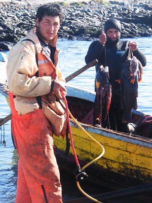 Spearfishers in Chile