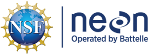 Official logo for NEON with letters in dark blue and a National Science Foundation globe logo beside it.