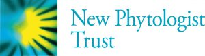 Official logo for New Phytologist Trust with teal-colored letters next to a yellow, black and green square design.