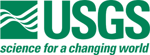 Official logo for the USGS with letters in green.