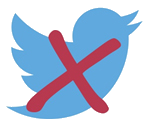 Image shows a twitter bird logo with a red X through it to denote No Twitter.