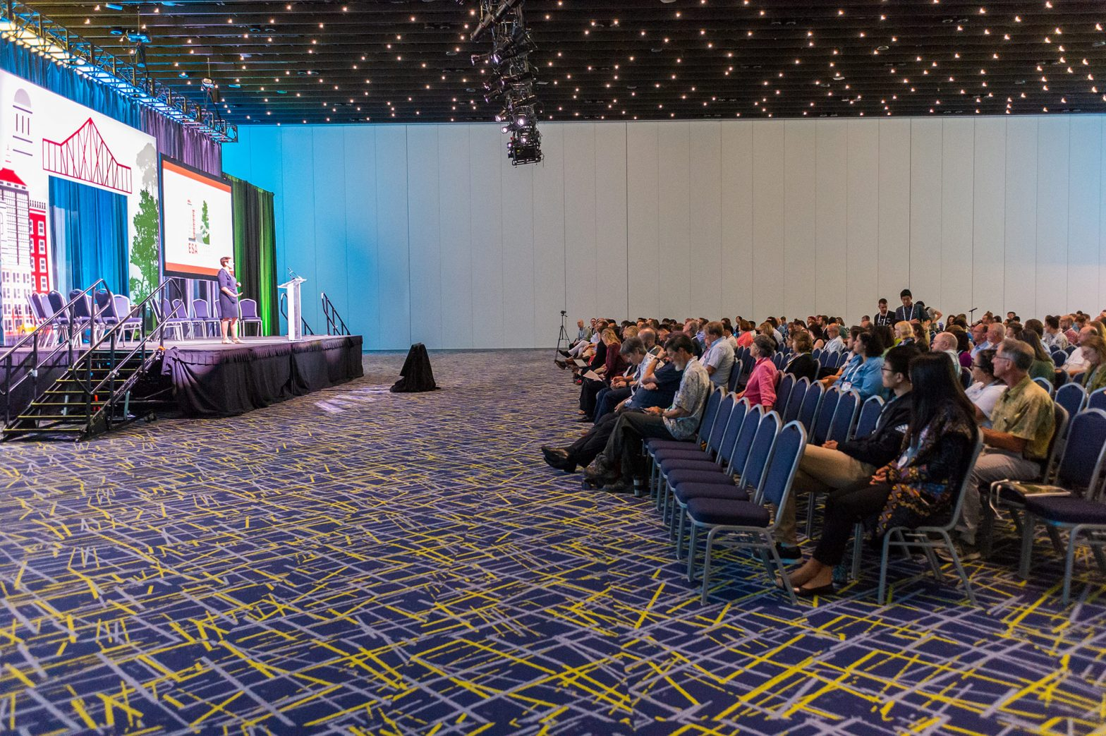 An auditorium audience watches a plenary.
