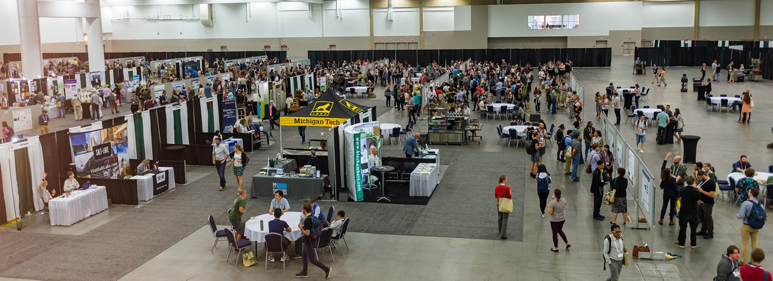 An aerial view of the large crowd at the ESA meeting at the indoor exhibits.