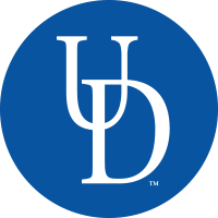 A logo displays the letters U and D on a blue circular background to represent the university of delaware.