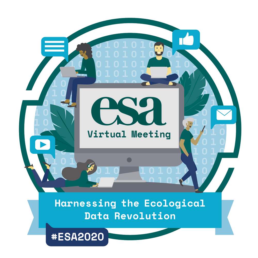 Official logo of the 2020 ESA Annual Meeting shows a cityscape in the foreground with mountains in the background and it is raining 1's and 0's (binary) digits.