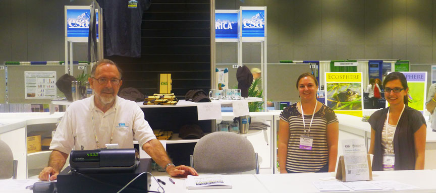 Volunteers serve at the main ESA booth at the 2014 Annual Meeting