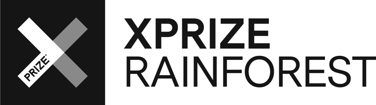 Logo with the words X PRIZE rain forest.