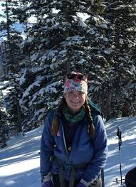 Portrait image of Alice Stears on a snowy mountain and outfitted for skiing .