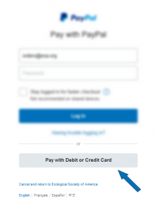 "This image displays the login area for Paypal as an example.  The login form is blurred but an arrow points to an unblurred button which states ""pay with credit or debit card""."