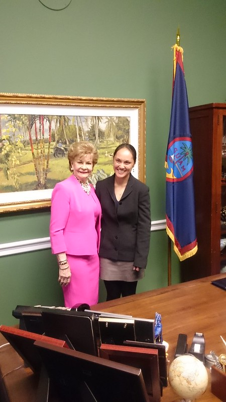 Picture of Ann Marie Gawel and Del. Madeline Bordallo in an office.