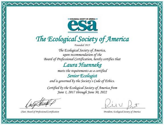 Example certificate awarded to professional ecologists.