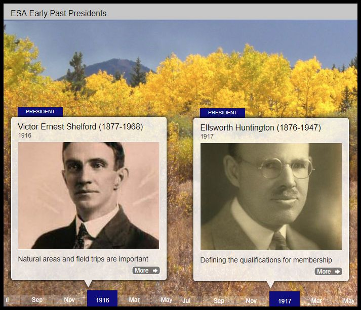 Snapshot of a timeline portion. It features headshots of 2 past ESA presidents.