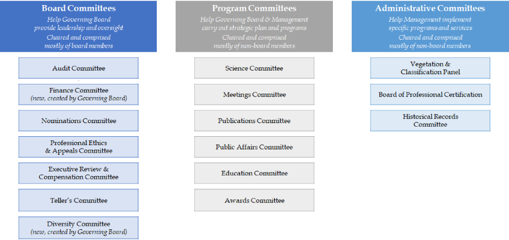 Detail of new committee structure into three lines of reporting and responsibility; Committees of the Governing Board will include the Audit Committee, Finance Committee, Nominations Committee, Professional Ethics and Appeals Committee, Executive Review and Compensation Committee and Tellers Committee, as well as the new Diversity Committee; Program Committees will include the Science Committee, Meetings Committee, Publications Committee, Public Affairs Committee, Education Committee and Awards Committee; administrative committees will include the Vegetation Classification Panel, Board of Professional Certification and Historical Records Committee